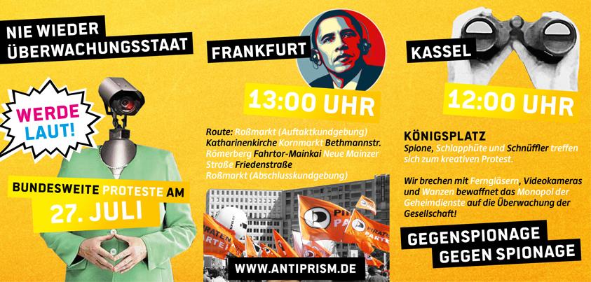 Bundesweite Anti-Prism Demos am Samstag, den 27.07.2013